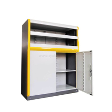 Densen customize factory equipment Multi-function move cabinet metal shutter door document storage mobile cabinet with 4 floors